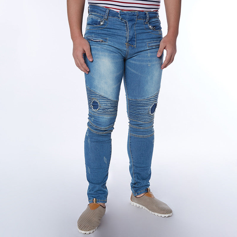 Plus Size 2016 New Men Brand Clothing Casual Mens Jeans Skinny Slim Biker Jeans Denim Long Pants ripped jeans homme
