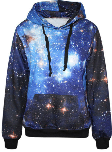 2016 Autumn Winter Galaxy Print Punk Women Hoodies New Fashion Leaf Print Coat With Pocket Digital Print Hooded Pullovers