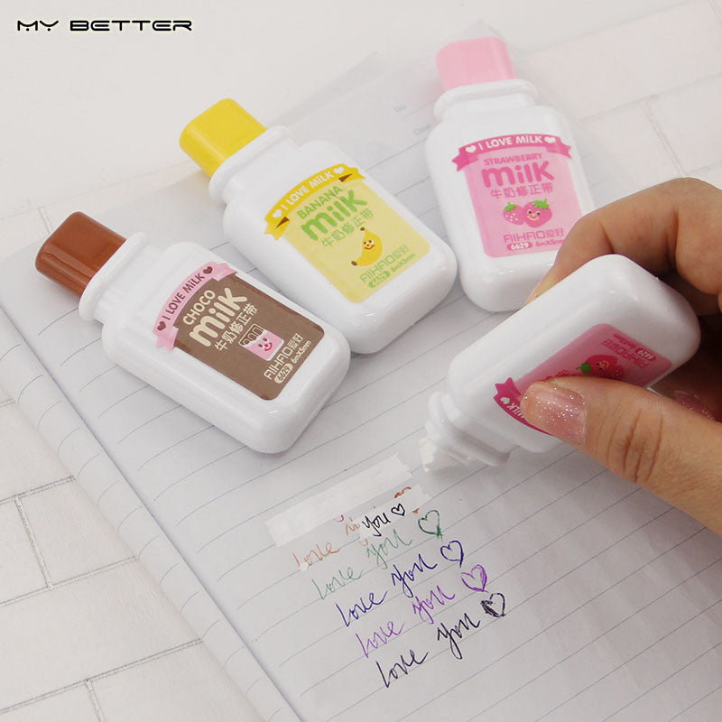 1 x Cute Milky Correction Tape Material Escolar Kawaii Stationery Office School Supplies - Blobimports.com