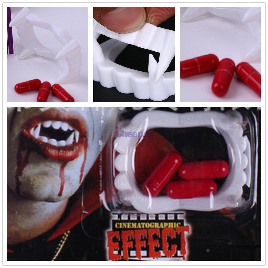 Halloween Vampire Funny Party Fancy Costume Fake Teeth Fangs with Blood Pills Party Supplies