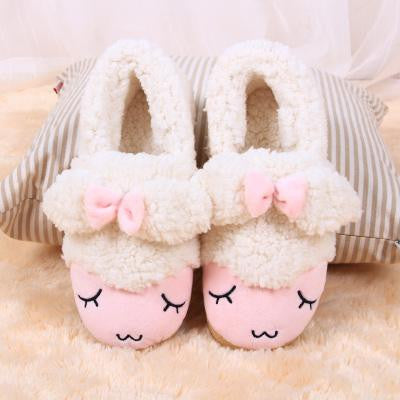 Winter Indoor Slippers Women Household Pantufas Cute Cartoon Sheep Bow Animal Cotton Soft Thick Home Shoes Plush Flats Pantuflas