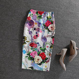Fashion Women 2016 New Print Office Skirt Spring Summer Knee-Length Pencil Back Split Skirts High Quality Faldas Saia Midi Femme