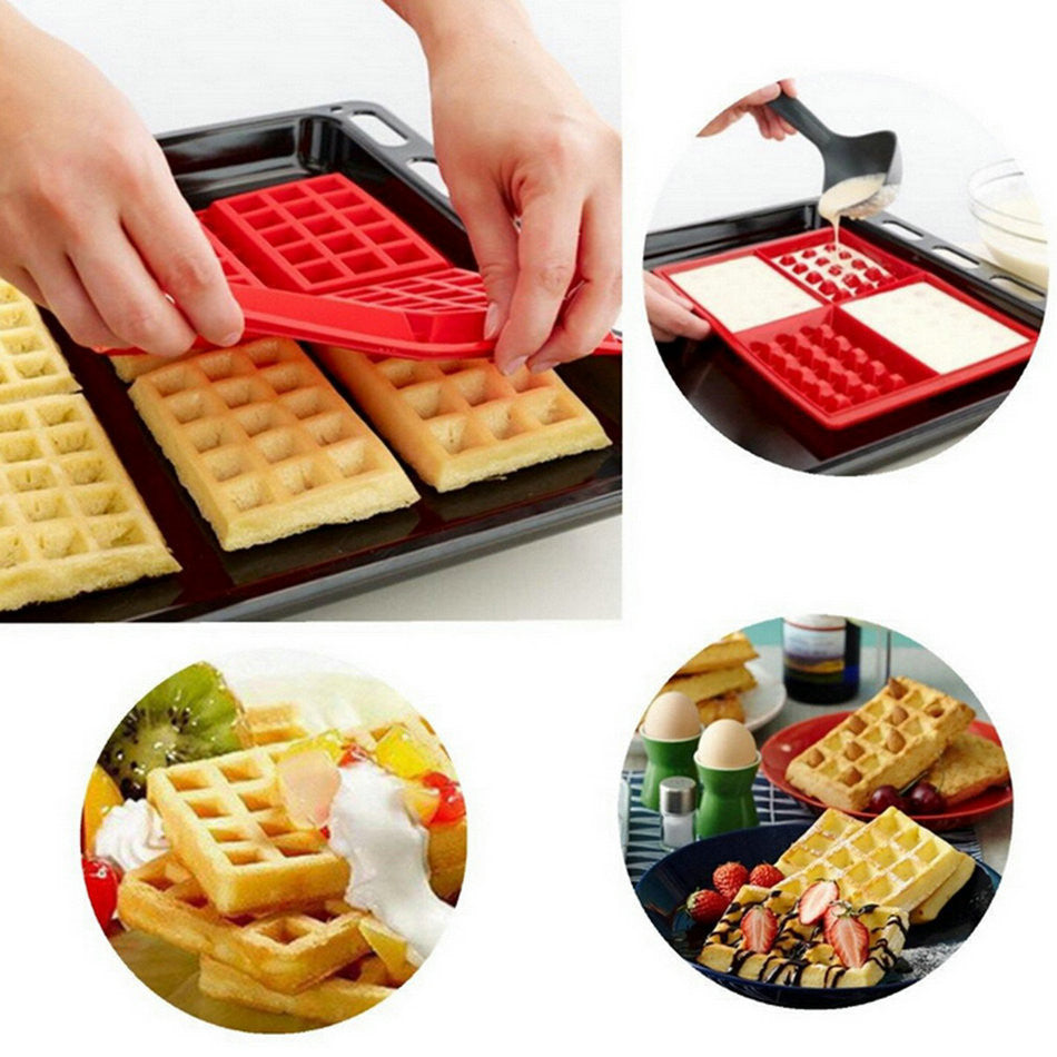1X Safety 4-Cavity Waffles Cake Chocolate Pan Silicone Mold Baking Mould Kitchen Brand New