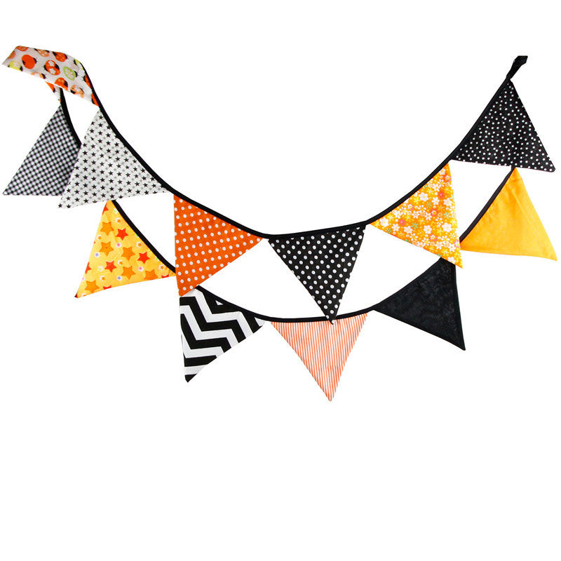 12 Flags 3.2m Handmade Beautiful Halloween Cotton Fabric Bunting Pennant Flags Banner Garland Home Party DIY Decorative Crafts