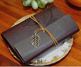NEW UPDATED NEW DELIVERY!Free shipping 13*19cm vintage leaf faux Leather pirate cover travel journal 12 colors notebook(1piece)