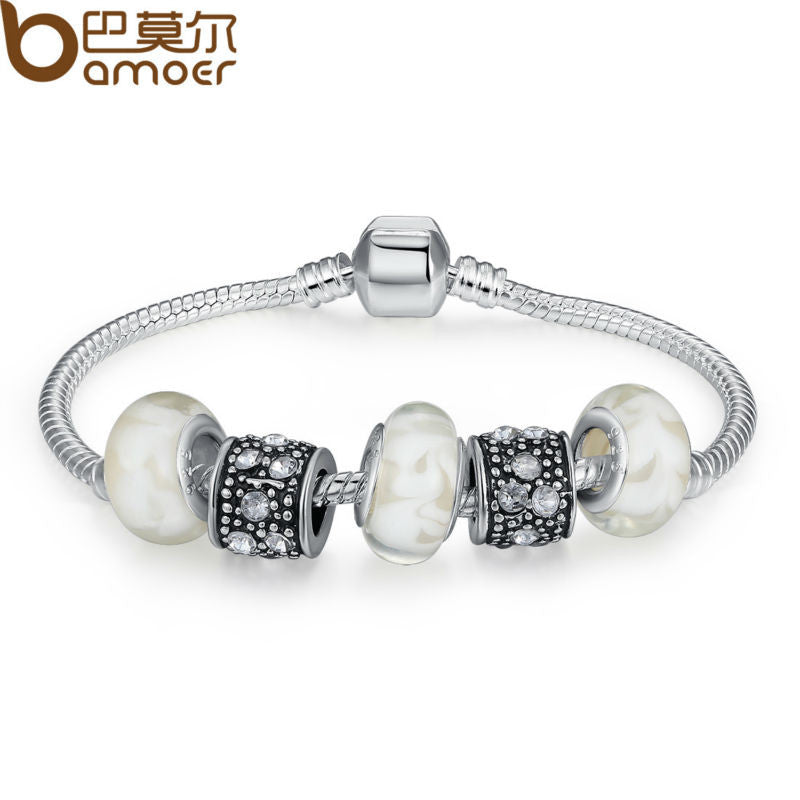 BAMOER Silver Charm Fit Pan Bracelet Bangle for Female With White Murano Glass Beads Charm DIY Jewelry PA1374