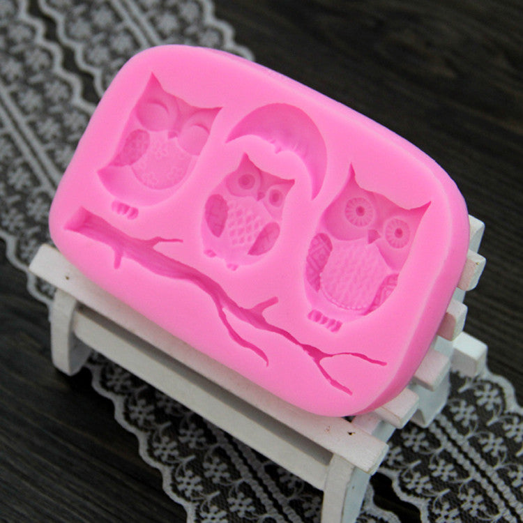 Owl And Tree Branch Design DIY Silicone 3D Cake Fondant Molds CT408