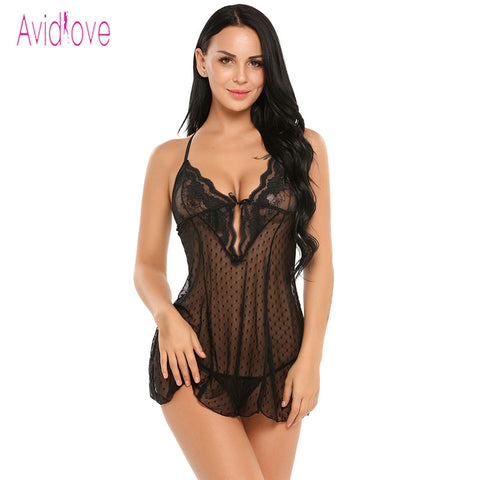 Avidlove Lingerie Sexy Erotic Hot BodyDoll Dress Women Sexy Nightwear See Through Lace  Sleepwear Erotica Adult Sex Products