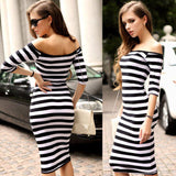 2016 Women Autumn Dress Sexy Half Sleeve Off Shoulder Stripe Stretch Casual Party Bodycon Dresses Cotton Blend S-XL Vestido