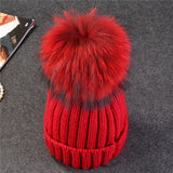 mink and fox fur ball cap pom poms winter hat for women girl 's wool hat knitted cotton beanies cap brand new thick female cap