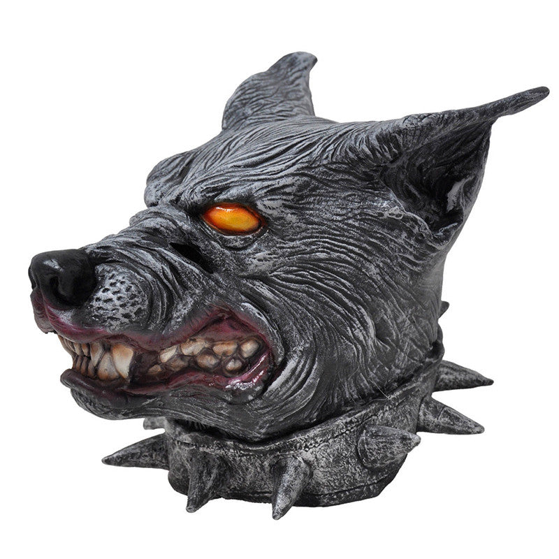Scary Halloween Mask Creepy Wear Collar of the Wolf Head Latex Party Mask
