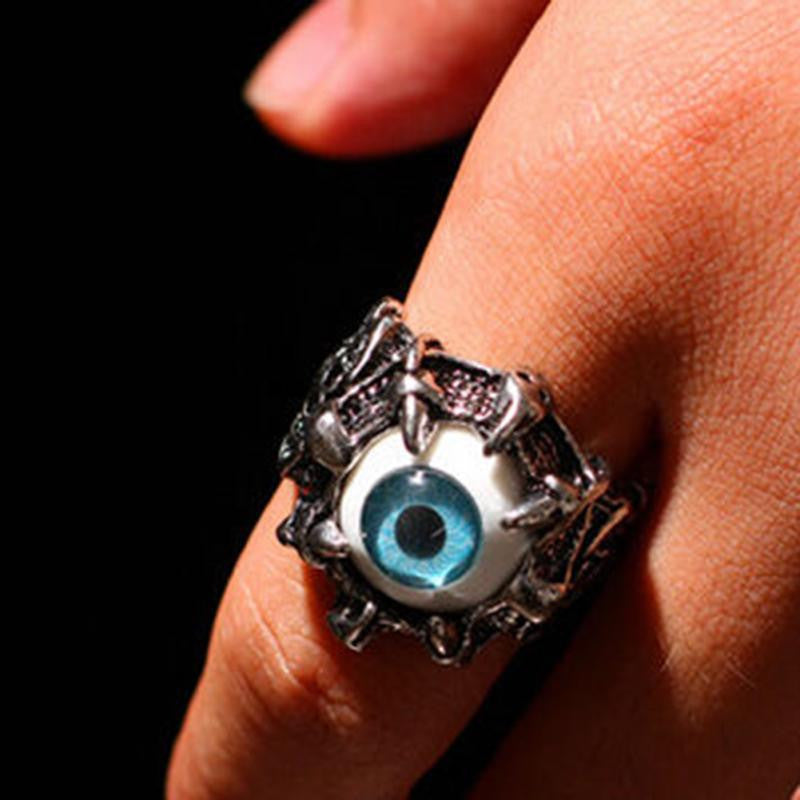 Men's Vintage Silver Dragon Claw Evil Eye Skull Rings Stainless Titanium Steel Biker Rings Devil Eyeball Halloween Party Props