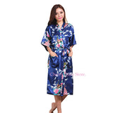 Women Silk Satin Long Wedding Bride Bridesmaid Robe Peacock Bathrobe Floral Kimono Robe Large Size Dressing Gown Peignoir Femme