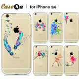 Fashion Watercolor Art Design Transparent TPU Case For Capinhas iphone 5s 5 6 6s Plus Cartoon Animals Minnie Mickey Mouse Para