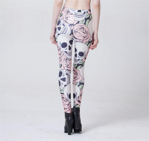 Hot New Fashion ROSE & SKULL Printed Female Fitness sportwear Leggings Femininos Fashion Slim Elastic Pants Women Leggins Mujer