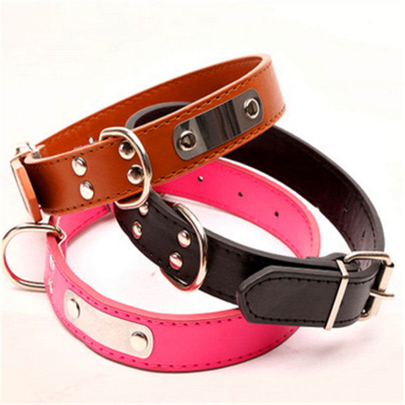 Pet dog collar leather Iron collar  may lettering simple and durable affordable dog supplies