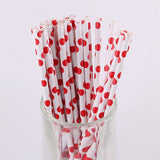 50pcs Paper Drinking Straws Stripe Polka Dot Party Decoration Wedding Kids Birthday Baby Shower Supplies Frozen Halloween