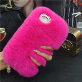 Fashion Artificial Rabbit Fur Hair Case For Apple iPhone 5 5S SE 6 6S 6 plus 6S plus 7 7 plus For iPhone Glitter Diamond Cover