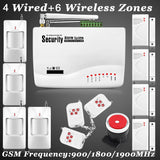 New 6 Wireless 4 Wired defense zones Security GSM Burglar Voice Alarm System built-in speaker for intercom serucitry Auto Dial
