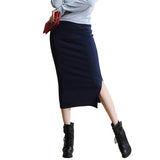 2016 Summer Autumn Sexy Chic Pencil Skirts Office Mid Waist Mid-Calf Solid Skirt Casual Slim Hip Placketing Lady Skirts