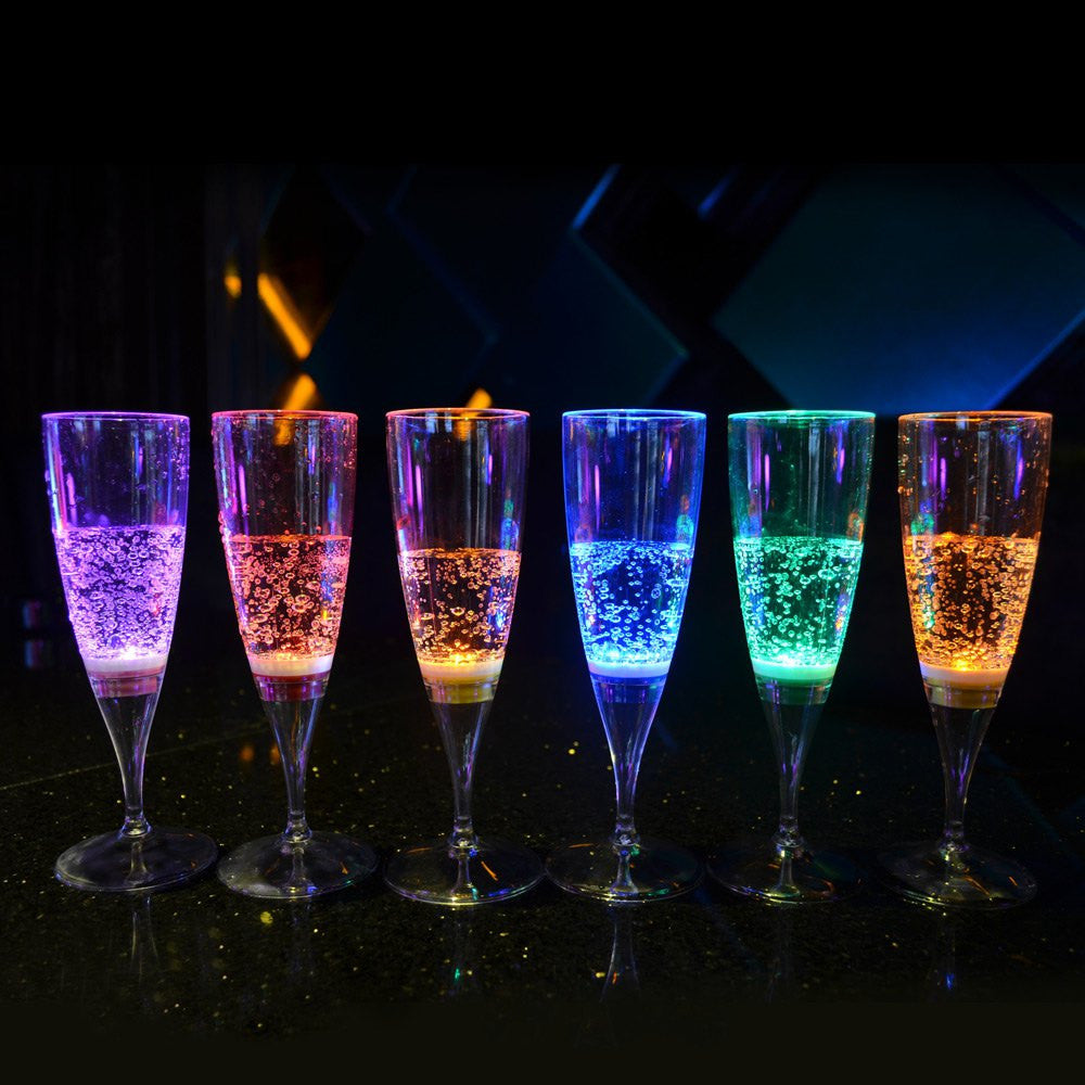 6 Pcs Colorful LED Light Flashing  Cup Beer bar Mug Drink Cup LED Champagne Glass Inductive Color Cup Goblet for Party / Wedding