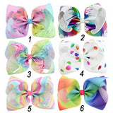 "6 Pieces/lot 8"" Unicorn JoJo Bows Hair Clips For Kids Girls Large Metallic Graffiti Ribbon Hair Bows Hairgrips Hair Accessories"