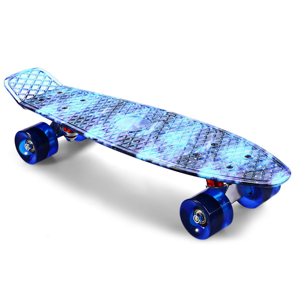 CL-94 22 Inch Blue Starry Sky Pattern Retro Skateboard Complete Dragon Longboard Sport Skate Board Four-Wheel Street Skateboard
