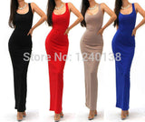2014 SEXY SOLID TANK BASIC SCOOP NECK RACERBACK RIBBED CASUAL MAXI SUMMER DRESS