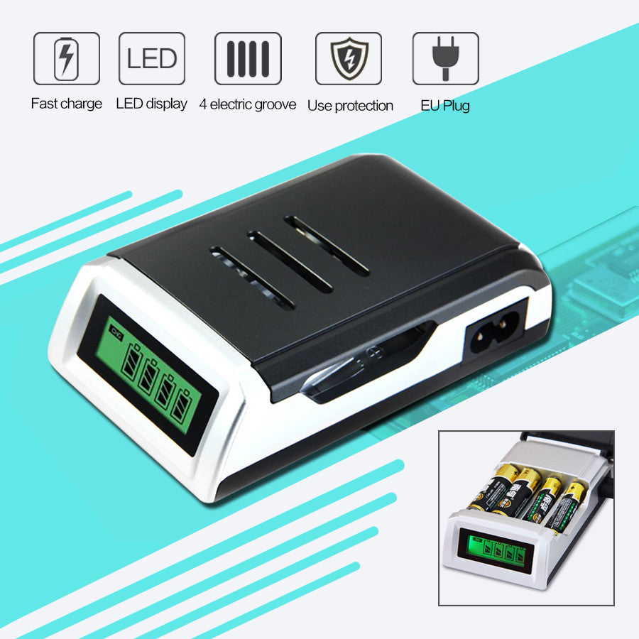 4 Slots Battery Charger for AA / AAA with LCD