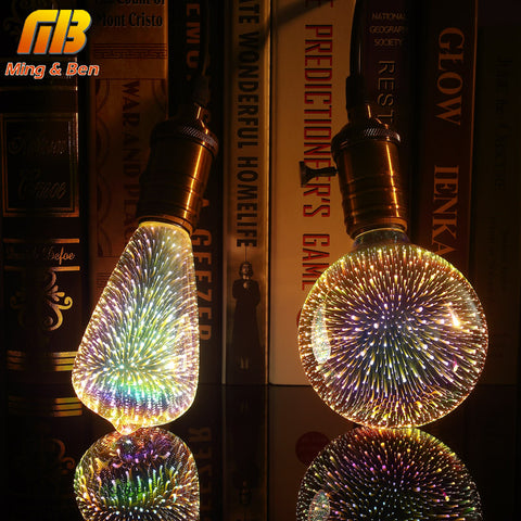 [MingBen] Led Light Bulb 3D Decoration Bulb 110V 220V ST64 G95 G80 G125 A60 E27  Holiday Lights Novelty Christmas Lamp Lamparas