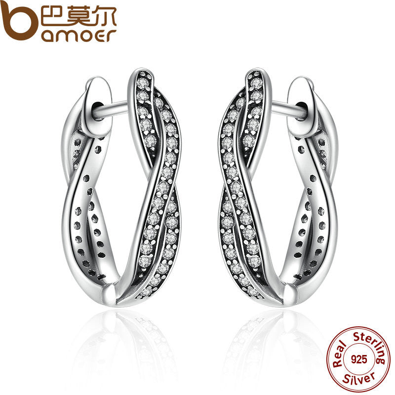 BAMOER Authentic 925 Sterling Silver Twist Of Fate Earrings, Clear CZ Earrings for Women Compatible With Pan Jewelry PAS465