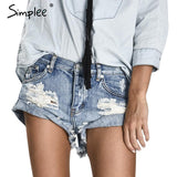 Simplee Apparel 50's Vintage ripped hole fringe blue denim shorts women Casual pocket jeans shorts 2016 summer girl hot short