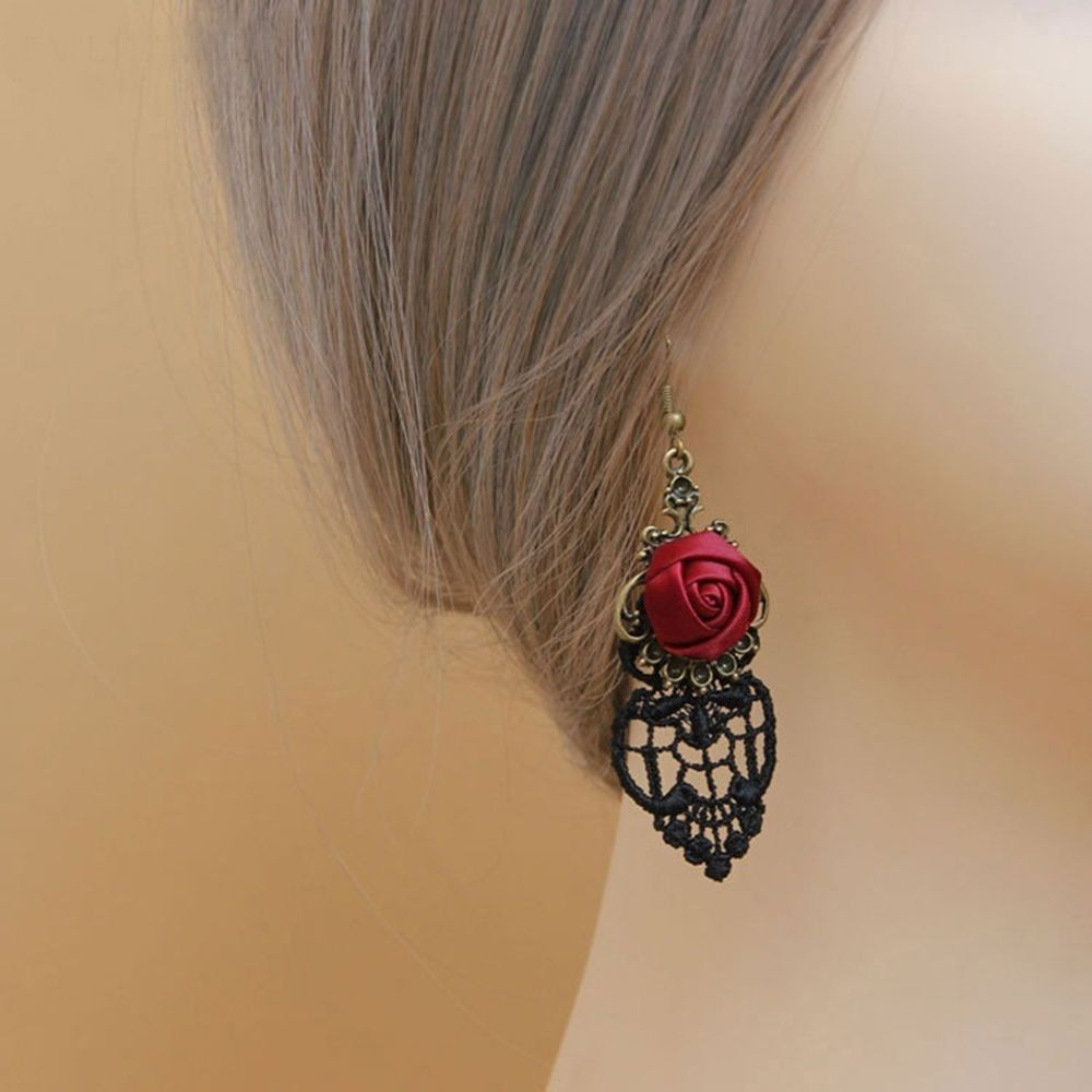 New Fashion Jewelry Dangle Earring Vintage Vampire Black Lace Punk Red Rose Gothic Earrings for Women Accessories Jewelry