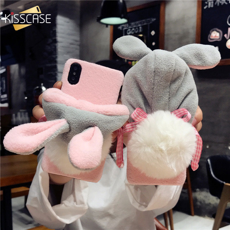 KISSCASE Cute Phone Case For iPhone 7 6 6s Case Lazy Rabbit Fluffy Ball Hat Case For iPhone X 8 iPhone 7 7 Plus Fundas Cover