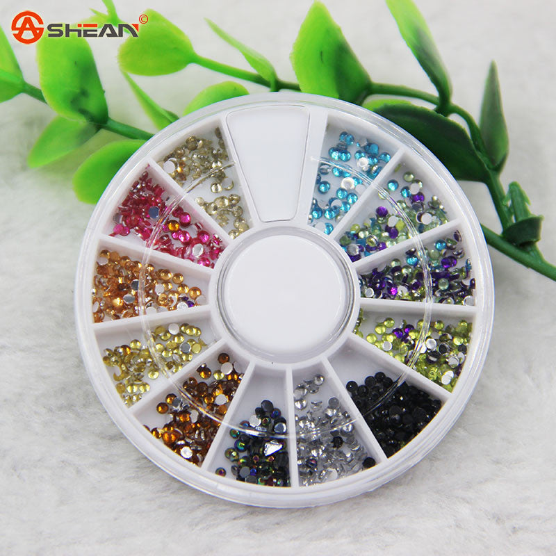 1pcs/lot 12 Colors Nail Art Rhinestones Acrylic Nail Decoration 1.5mm for Uv Gel and Laptop DIY