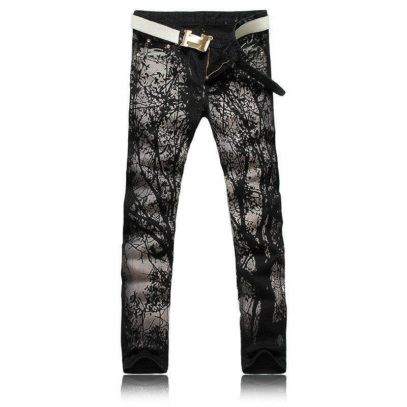 Cool Mens Painted Jeans 100% Cotton Clubwear Personality fashion Jeans Men Straight Mens Denim Trousers Mens Printed Jeans