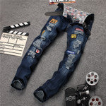 High Quality White Patchwork Jeans Men Designer Brand Ripped Biker Jeans Casual Elastic Pants Hip Hop Skinny Jeans Slim Fit