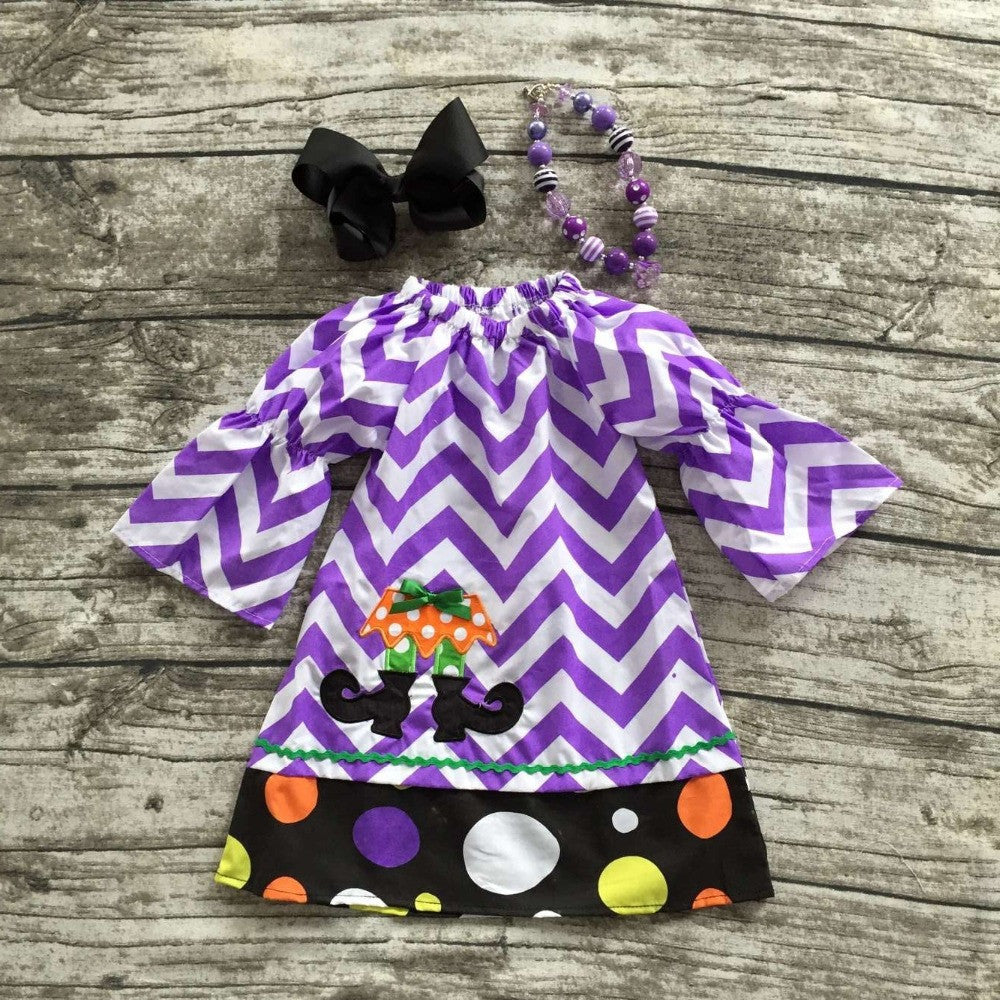 2016  girls Halloween dress kids purple and white chervon dress kids boutique dress children witch shoes dress with accessories