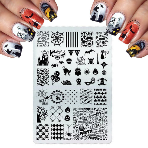Pretty Nail Art Templates Stainless Steel Stamping For Cats Halloween Skull Butterfly Flower Nail Stamping Plates Nail Art