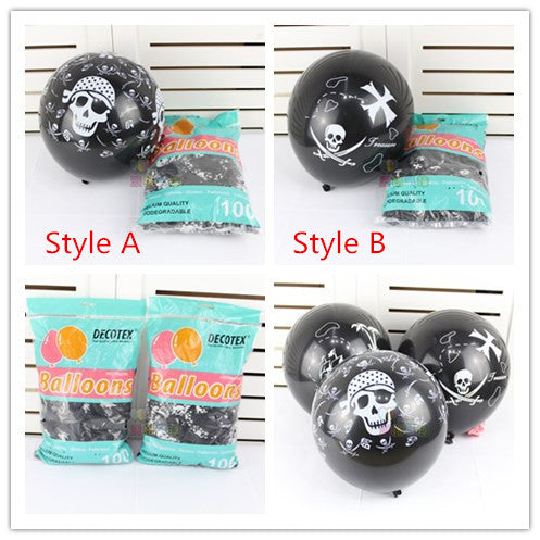 10pcs3.2g Black color Skull Printed Latex balloons Skull theme Party Birthday Ballon kid's toys Halloween theme party decor