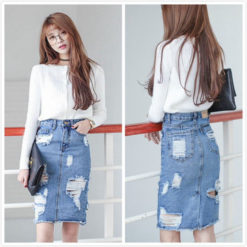 Plus Size Denim Skirt Women 2016 Autumn/Winter Vintage Ripped Denim Skirt Slim Tight Office Skirt Sexy Pencil Skirt Women Denim