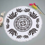 Lannidaa Purple Tassels Elephant Tapestry Mandala Round Beach Towel Throw Yoga Mat Serviette Plage Ronde Sunblock Blanket 150cm