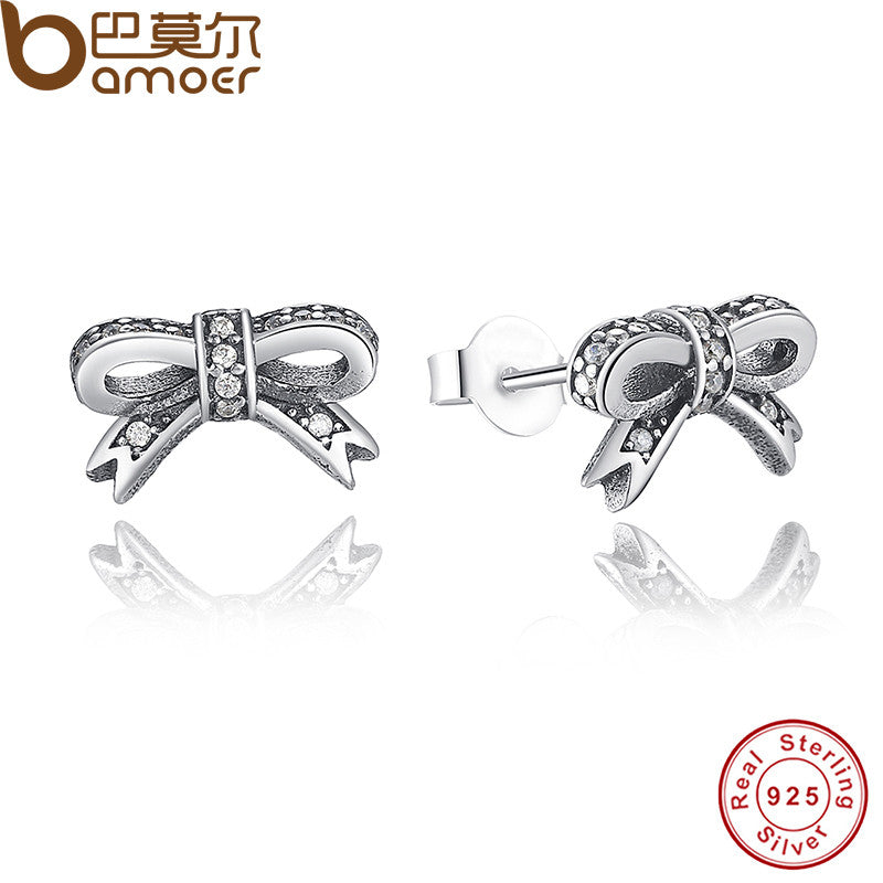 Delicate 925 Sterling Silver Sparkling Bow Stud Earrings Clear CZ Compatible with Pan Jewelry PAS407