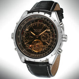 New Aviator Men Automatic Mechanical Wrist Watch Genuine Python Pattern Leather Tourbillion Roman Number Calendar Sub Dial + BOX