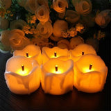 24pcs Yellow Flicker Battery Candles/ Plastic Electric Candles/ Flameless Tea Lights For Christmas Halloween Wedding Decoration