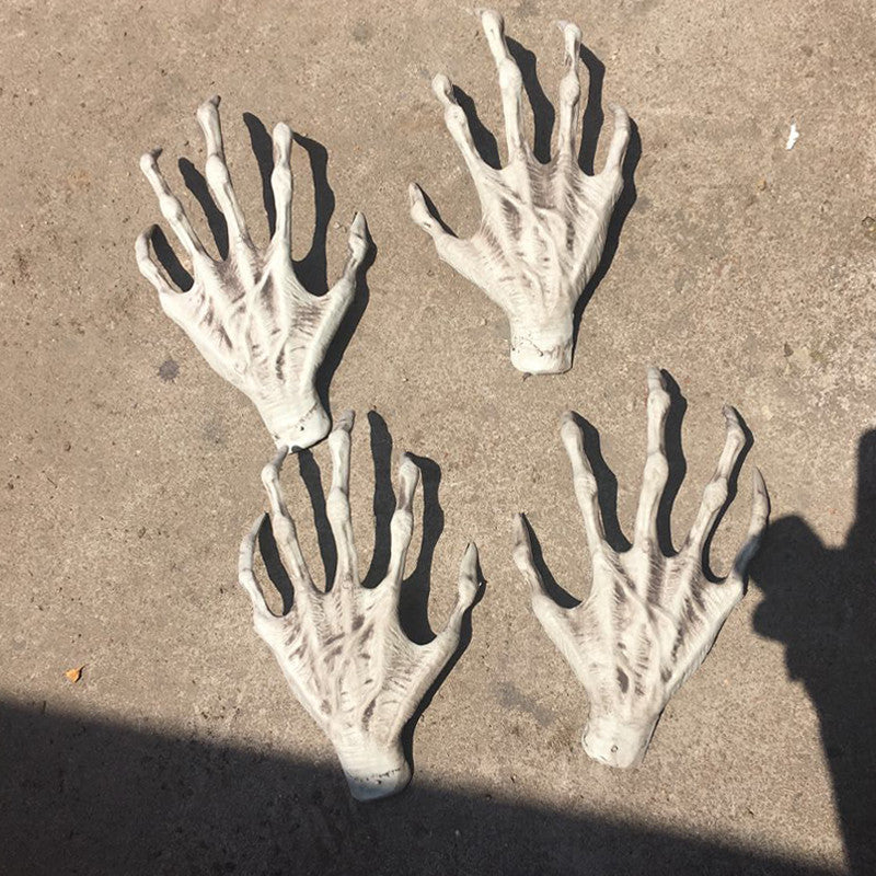 1 pair Halloween Plastic Skeleton Hands Witch Hands Haunted House Escape horror props Decorations