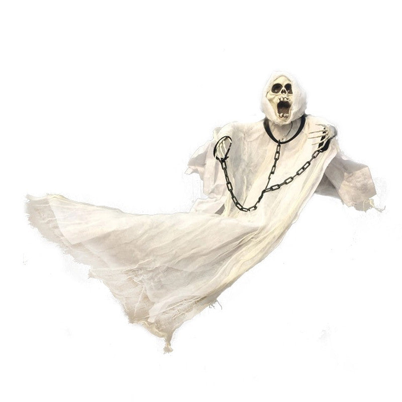 White Hanging Ghost with Chain Light up Eyes Sound and Sensor for Halloween Decorations