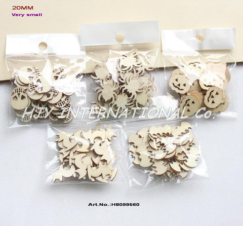 "(5 Styles,150pcs/set) 20mm Blank Wood Halloween Party Owl Skull Bat Pumpkin Cat Spider 0.08""-H8099560 - Blobimports.com"