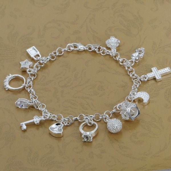 H144 Wholesale! Free shipping silver plated bracelet fashion sterling-silver-jewelry charm bracelet 13 Pendants Bracelet