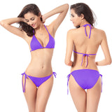 11 Color Solid Polyester Bikinis Set 2016 Women Swimwear Fashion Female Sexy Swimsuit Split Girl Bathing Suit One Size Beachwear